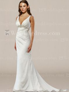 V Neck Open Back Bridal Gown With Beading BC342