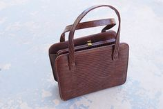 vintage 50s Purse  Chocolate Brown Croc Reptile by jessamity, $34.00