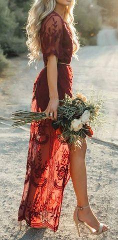 Deep V Neck Short Sleeve High Waist Lace Prom Dress