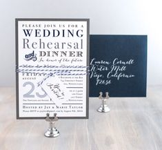 Navy Wedding Rehearsal Dinner Invitations, Rehearsal Invites with Navy Blue and Grey - 9 Colors To Choose From, Only 3.00/each - Deposit