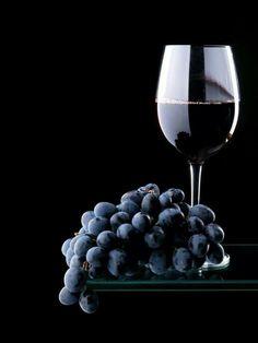 Wiinglas met druiven