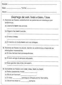 Atividades de português 5 ano do Ensino Fundamental - Para Imprimir Atv, Kids Learning Activities, Literacy Activities, Fifth Grade, Mtb Bike, Atvs