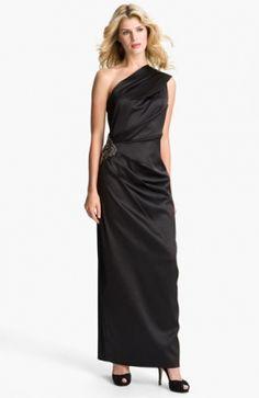 Embellished Waist One Shoulder Satin Gown