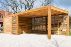 Wooden carport or garage with storage room or bicycle storage room – manufacturer Car …, … - Modern