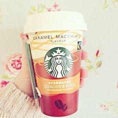 Starbucks, Caramel Macchiato ♡, coffee to go, white, rosé, delicious, rose, girls, rest - Kaffee, weiß, rosé, lecker, Rose, Mädchen, Erholung