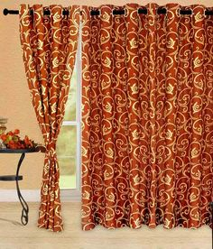 Cortina Bamboo Orange Eyelet Curtain 5FT, http://www.snapdeal.com/product/cortina-eyelet-curtain-orange-colour/466928652