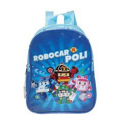 Petit sac à dos Robocarpoli pour la maternelle. La face avant est en plastique brillant pour un rendu éclatant des couleurs. Les autres parties du sac sont en toile synthétique. Décoration plastique sur la tirette de la fermeture éclair. Haut 23cm Larg 19cm Prof 8cm