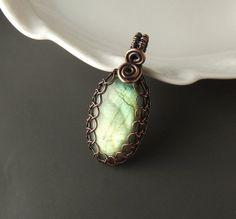 Labradorite copper pendant white rustic copper by VeraNasfaJewelry, $41.00