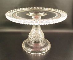 Antique EAPG Pedestal Cake Stand Pattern Glass Diamond Point Cake Plate  (() Tiered Cake Stands, Pedestal Cake Stand, Tiered Cakes, Cupcake Stands, Vintage Cake Plates, Vintage Cake Stands, Patterned Cake, Dessert Aux Fruits, Diamond Point