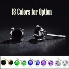 18 Colors 100% New Fashion 4 Claw Crystal Men Earrings Black White Colors Man Jewelry Male Women Stud Earrings Free Shipping