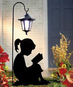 Outdoor Solar Powered Lantern w/ Girl Silhouette Reading a Book for Garden Lawn