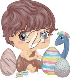 Illustration of a Little Caveman Painting Easter Eggs