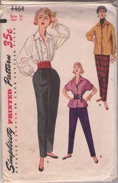 MOMSPatterns Vintage Sewing Patterns - Simplicity 4464 Vintage 50's Sewing Pattern FANCY Retro Hostess Ruffle Trim Batwing Tuxedo Blouse, Tunic Top, Toreador Tapered Pants Size 16