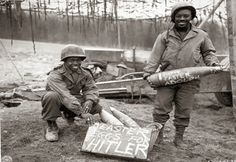 Two American soldiers with gifts for Adolf