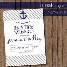 Nautical Baby Shower Invite- Anchor Baby Shower Invite - Printable Baby Shower Invite via Etsy