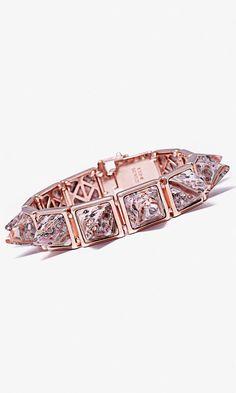 Pink leopard jasper stones   pyramid stud bracelet