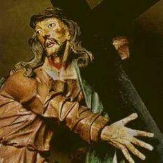arte barroca-Aleijadinho -Detalhe do Cristo carregando a Cruz, naVia Sacra de Congonhas