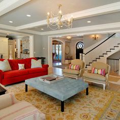 Living Room Red Chest + Tan Couches + Blue Design, Pictures, Remodel, Decor and Ideas - page 4