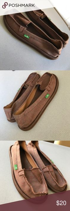 Sanuk Shoes Size 7 women's sanuk shoes. EUC!!! Brown with a very light multi color stitch. Perfect for fall. Only worn maybe once! Sanuk Shoes