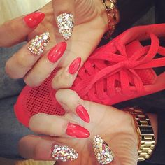Nails Red Gold Glitter Diamond Gem Paigey Cakey Cat Nails Nike Air Max