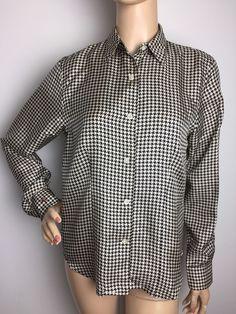 Lauren Ralph Lauren Houndstooth Silk Button Down Long Sleeve Women's Shirt Small  | eBay