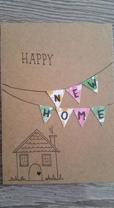 Card - hand lettering - new home - Selbermachen & Basteln - New Home Cards, Happy New Home, Karten Diy, Button Cards, Bday Cards, Handmade Birthday Cards, Cute Cards, Homemade Cards, Diy Gifts