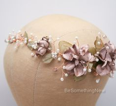 Rose Gold Floral Hair Vine of Wired Flowers by BeSomethingNew