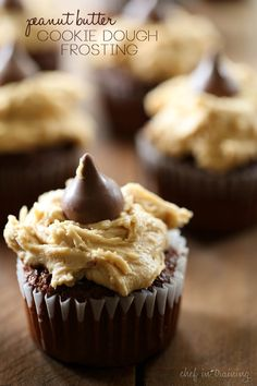 Peanut Butter Cookie Dough Frosting.. Egg free and tastes just like the real deal! It is so good, it might not even make it to the cupcakes!