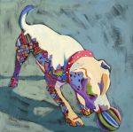 Carolee Clark|Daily Painting, Play Ball, expressionistic painting of an American Bulldog
