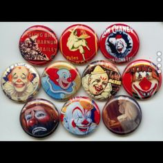 Clowns circus vintage imahes Pinback button set by Yesware11 on Etsy.. Click for details!
