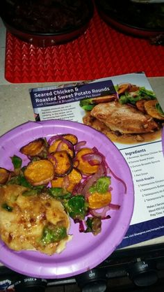 Seared Chicken & Roasted Sweet Potato Rounds with Chestnut & Brussels Sprouts  Pan Sauce