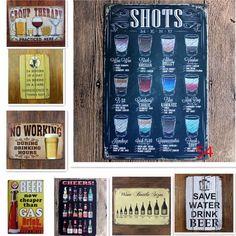 Shots Menu Vintage Tin Signs 20*30 Shabby Chic Home Decor House Bar Pub Cafe