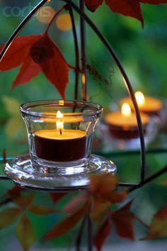 tea light garden accents
