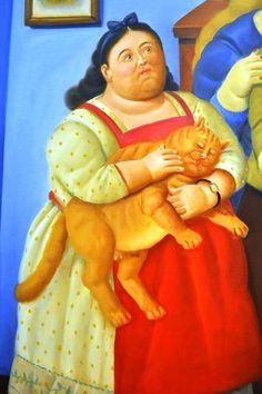"Cats in Art and Illustration: ""Niña con gato"" Girl with cat, Fernando Botero Crazy Cat Lady, Crazy Cats, Frida Diego, Illustrator, Animal Gato, Plus Size Art, Fat Art, Naive Art, Renoir"