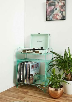 Larisa vinyl storage unit at Urban Outfitters is part of Upcycled furniture Kitchen Shelves - Need somewhere for your record player Check out the Larisa vinyl storage unit at Urban Outfitters Retro Room, Vintage Room, Diy Home Decor Bedroom, Room Ideas Bedroom, Urban Home Decor, Bedroom Storage, Vinyl Dekor, Retro Bedrooms, Vinyl Storage