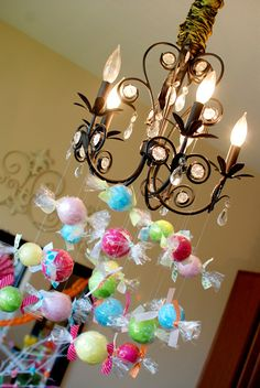 Cute decor idea to go w/Candyland birthday theme. Candy Themed Party, Candy Land Theme, Candy Land Christmas, Candy Christmas Decorations, Candy Decorations Party, Xmas, Christmas Tree, Christmas Ornaments, Fiestas Party