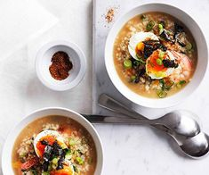 Australian Gourmet Traveller recipe for Japanese prawns and rice with hot spring eggs. Prawn Recipes, Egg Recipes, Seafood Recipes, Vegetarian Recipes, Dinner Recipes, Barbecued Lamb, Chicken Katsu Curry, Lamb Ribs, Asian Soup