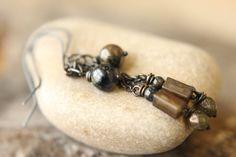 Lengthy Chain Earrings Featuring Pietersite by SparrowtaleStudio, $25.00