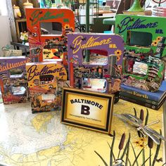 """Brand new summer of 2015 collection of Baltimore decoupaged letter """"B's"""". All created by More Than Fine Framing's own Terri Yellalonis. All SOLD, but a new collection has been created for Spring 2016!"""