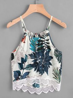 Tropical Print Lace Hem Tie Back Cami Top