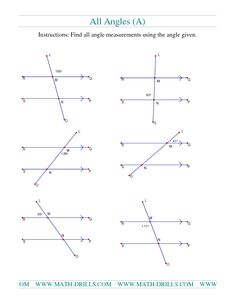 Geometry Worksheet -- Finding Angle Measurements (B) | Teaching ...