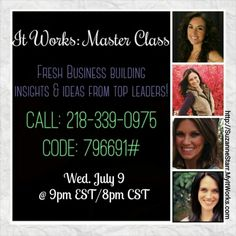"""""""What is #ItWorks?""""  Listen into this call tonight at 9pm to hear how Top Leaders rock their #ItWorksGlobal businesses!  Take some notes and call me afterwards so I can answer your questions about how you can make full-time income on a part-time basis!  Suzanne 732-207-6819  http://SuzanneStarr.MyItWorks.com  #wraps #debtfree #itworksincome #HireYourself #FireYourBoss #BetterTogether #Teamwork #InvestInYourself #stressfree #StartsWithOne #OurTime"""