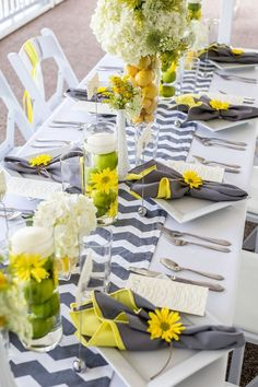 Ideas For Wedding Blue Grey Yellow Table Settings Yellow Grey Weddings, Yellow Wedding, Mod Wedding, Wedding Table, Summer Wedding, Wedding Colors, Wedding Flowers, Trendy Wedding, Wedding Reception