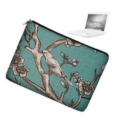 Cute Laptop Sleeve Case Bag Bird Blue Many by janinekingdesigns