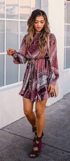 #fall #outfits women's red and multicolored long sleeve mini dress