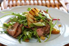 Maggie Beer's Duck Salad with Grilled Pear, Rocket and Red Wine Vinaigrette