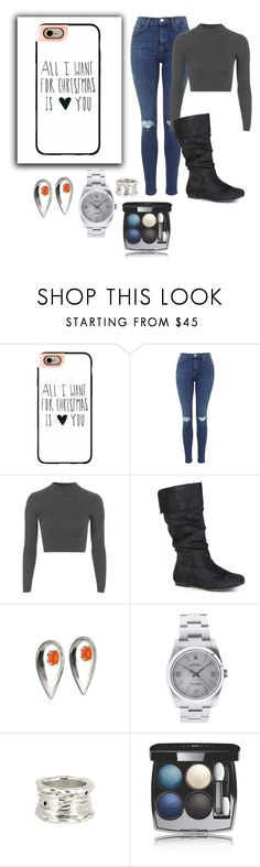 """""""All I want for Christmas is you"""" by kayleighmw on Polyvore featuring Casetify, Topshop, Journee Collection, Rolex and Chanel"""