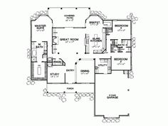 "DreamHomeSource House Plan DHSW32675: 2801 sq ft. 3 Bed, 2.5 Bath. 3 Garage. 70' 11"" x 77' footprint"