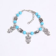 NEW DIY fashion owl Blue Tibetan silver beaded Bracelet Free Shipping by Chasingdreams97 on Etsy