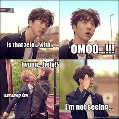 hahaha sasaeng Daehyun. (Zelo probably took Dae's cheesecake again... Boy needs to learn!)